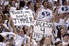 Trent Nelson  |  The Salt Lake Tribune BYU fans hold up signs celebrating BYU's Jimmer Fredette and Jackson Emery as BYU hosts Wyoming, college basketball in Provo, Utah, Saturday, March 5, 2011.