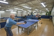 Paul Fraughton  |  The Salt Lake Tribune  George Majors, left, and his son Bruce play table tennis at the Table Tennis Training and Event Center in West Valley City. The new facility, which features 16 competition tables and three robotic ones, operates 11 a.m. to 11 p.m. Monday through Saturday.