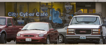Steve Griffin  |  The Salt Lake Tribune   The City Cyber Cafe at 2290 S. Redwood Road  in West Valley City was raided by police and is now closed.