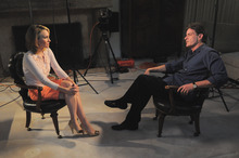 In this photo provided by ABC News, Andrea Canning interviews actor Charlie Sheen Saturday, Feb. 26, 2011, in Los Angeles for a Special Edition of 20/20 to be aired Tuesday. Sheen told Canning he is 100 percent clean and plans to show up for work despite CBS's pulling the plug on this season's production of