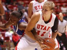 The Utes' Taryn Wicijowski tangles with SMU's Alisha Filmore. The U. defeated SMU, 72-58, on Saturday at the Huntsman Center.   Leah Hogsten  |  The Salt Lake Tribune