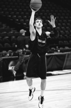 Gonzaga's David Stockton shoots during practice at the Pepsi Center in Denver on Wednesday, March 16, 2011. Gonzaga will play St. John's in the second round of the NCAA college basketball tournament Thursday. (AP Photo/Jack Dempsey)