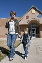 Kina Wilde  |  Special to The Salt Lake Tribune  Brandee Reese picks up her son Karson, 4, from South Preschool in Cedar City on Tuesday, March 15, 2011.
