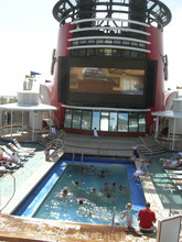 Tom Wharton  |  The Salt Lake Tribune  Watching a movie while sitting in a pool on a cruise ship is a good way to spend spring break.