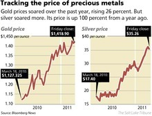Tracking the price of precious medals Gold prices soared over the past year, rising 26 percent. But silver soared more. Its price is up 100 percent from a year ago.