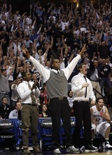 Trent Nelson  |  The Salt Lake Tribune BYU's Brandon Davies and Chris Collinsworth cheer from the bench as BYU defeats Gonzaga in the NCAA Tournament, men's college basketball at the Pepsi Center in Denver, Colorado, Saturday, March 19, 2011, earning a trip to the Sweet 16.