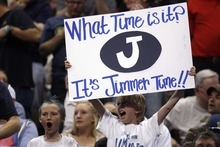 Trent Nelson  |  The Salt Lake Tribune Two young BYU fans with a sign reading,