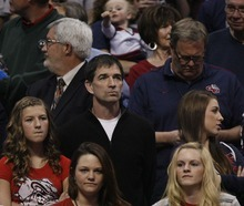 Trent Nelson  |  The Salt Lake Tribune Utah Jazz Hall of Famer John Stockton watches his son, Gonzaga's David Stockton, play as BYU faces Gonzaga in the NCAA Tournament, men's college basketball at the Pepsi Center in Denver, Colorado, Saturday, March 19, 2011.