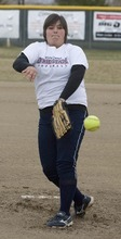 Paul Fraughton  |  The Salt Lake Tribune Copper Hills softball pitcher Shelby Abeyta fires a few practice pitches.
