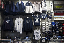 Chris Detrick | The Salt Lake Tribune  BYU basketball merchandise for sale at Fanzz in the Provo Towne Centre on Wednesday, March 23, 2011.