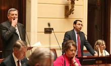 LEAH HOGSTEN  |  The Salt Lake Tribune Senate Majority Leader Scott Jenkins, left, and Senate Minority Leader Ross Romero debate the repeal Friday of HB477, which would restrict public access to government records. The law was repealed by a vote of 19-5 in the Senate and 60-3 in the House.