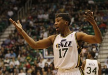 Rick Egan   |  The Salt Lake Tribune  Utah Jazz guard Ronnie Price (17) is stunned after he was called for a foul, in NBA action Utah vs. Dallas, in Salt Lake City, Saturday, March 26, 2011.