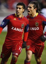 Djamila Grossman  |  The Salt Lake Tribune  Real Salt Lake's Javier Morales (11) and Fabian Espindola (7) celebrate after their team scored the second goal against Los Angeles Galaxy during a game at Rio Tinto Stadium in Sandy on Saturday,  March 26, 2011.