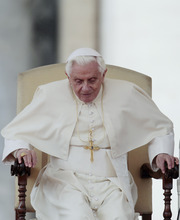 Gregorio Borgia | The Associated Press  Pope Benedict XVI stands up during his weekly general audience in St. Peter's square at the Vatican, Wednesday, March 23, 2011.