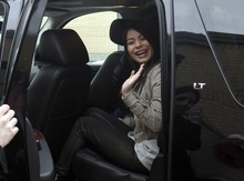 Rick Egan   |  The Salt Lake Tribune   Miranda Cosgrove  waves to her fans as she leaves Crescent Elementary School in Sandy, Monday, March 28, 2011. Cosgrove, star of  TV show