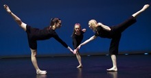 Photo by Chris Detrick   The Salt Lake Tribune  Rosy Goodman, Colleen Hoelscher and Chara Huckins dance during a rehearsal of Repertory Dance Theatre's