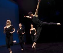 Chris Detrick   The Salt Lake Tribune  Chara Huckins, Aaron Wood, Chris Peddecord and Sarah Donohue dance during a rehearsal of Repertory Dance Theatre's