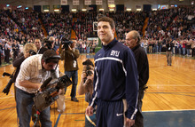 Jimmer Fredette looks into the stands as he returns to Glens Falls, N.Y., for a game against Vermont on Dec. 8, 2010. He was welcomed home with a capacity crowd. Andy Camp | Special to The Salt Lake Tribune