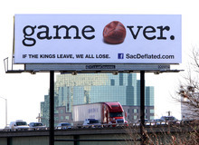 Drivers on southbound Interstate 5 in Sacramento, Calif., are greeted by a new billboard implying the NBA Sacramento KIngs might be moving, Wednesday, Feb. 23, 2011. The NBA confirmed over the All-Star break weekend that the Maloof family,  which owns the Kings, has been in talks with Anaheim officials  about possibly moving the team where they would play in the Honda Center. Under NBA rules the Maloofs have until March 1 to file a relocation request request with the league. (AP Photo/Rich Pedroncelli)