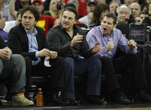 FILE - In this Feb. 28, 2011, file photo, Sacramento Kings owners George, Gavin and Joe Maloof, left to right, sit courtside during a Kings game against the Los Angeles Clippers in Sacramento, Calif. All signs indicate the Kings will move south to Anaheim after the season, leaving behind a city that was once home to a fervent and faithful fan base unlike any other. Now suddenly, stunningly, Sacramento is on the verge of being wiped off the NBA map.  (AP Photo/Steve Yeater, file)