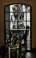 Scott Sommerdorf  |  The Salt Lake Tribune Conference attendees stand in line to enter the Conference Center for the 181st Annual LDS General Conference, Saturday, April 2nd, 2011.