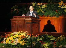 Scott Sommerdorf  |  The Salt Lake Tribune LDS President Thomas S. Monson speaks at the beginning of the 181st Annual LDS General Conference, Saturday, April 2nd, 2011.