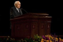 L. Tom Perry, Quorum of the Twelve Apostles, speaks during the afternoon session of the 180th Semiannual General Conference of The Church of Jesus Christ of Latter-day Saints Saturday, April 3, 2010.