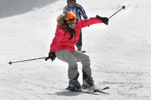Scott Sommerdorf  |  The Salt Lake Tribune Nepalese refugee Jeebika Dahal, 12, struggles on skis at Solitude Resort on Sunday during her first ski lesson, courtesy of Westminster College and Solitude Ski Resort.  About 20 refugee children were able to ski for the first time. The children, who range in age from 8 to 15, come from countries including Bhutan, Burma, Nepal, Burundi, Sudan, Somalia, Ethiopia and the Congo.