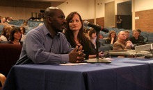 Stephen Holt  |  Special to The Tribune  Eddie and Heather Gist raise concerns about racism Tuesday night in the Canyons School District to its council in Brighton High School.