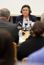 Stephen Holt  |  Special to The Tribune  U.S. Department of Justice Conciliations Specialist Rosa Salamanca answers questions Tuesday on how her department can support the Canyons School District with hate crimes situations.