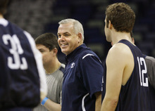 Scott Sommerdorf  |  The Salt Lake Tribune BYU head coach Dave Rose laughs with his players during practice at the New Orleans Arena, Wednesday, March 23, 2011.