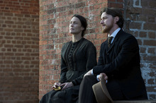 Mary Surratt (Robin Wright, left) confers with her lawyer, Frederick Aiken, in the post-Civil War drama