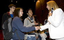 Al Hartmann   |  The Salt Lake Tribune  Students at Taylorsville High School shake hands and thank cancer survivor   Terrie Hall, right,  after she gave a frank speech about cigarettte addiction and health at the school Tuesday April 12 for the Utah Department of Health (UDOH) TRUTH Campaign She can't swim, blow her nose or speak – and she never will. Hall lost her voice box, breathes through a hole in her chest, and suffered through radiation and surgeries thanks to tobacco addiction.