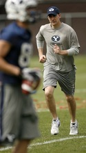 Trent Nelson  |  The Salt Lake Tribune BYU offensive coordinator Brandon Doman at football practice in Provo, Utah, Tuesday, April 5, 2011.
