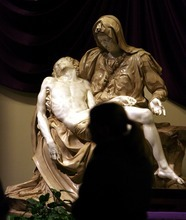 Steve Griffin  |  The Salt Lake Tribune University of Utah student Melissa Anderson admires a replica of Michelangelo's Pieta -- now on display at St. Catherine of Siena Newman Center in Salt Lake City.