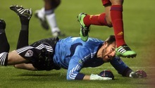 Steve Griffin     The Salt Lake Tribune   Real Salt Lake's Alvaro Saborio leaps over Colorado goalie Matt Pickens as he chases after the ball during first half action in the Real Salt Lake versus Colorado Rapids at Rio Tinto Stadium in Sandy, Utah Wednesday, April 13, 2011.