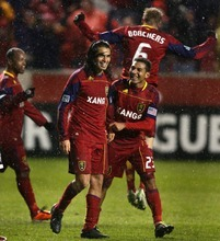 Steve Griffin     The Salt Lake Tribune   Real Salt Lake players celebrate with Fabian Espindola, second from left, after he scored the winning goal in extra time in the Real Salt Lake versus Colorado Rapids at Rio Tinto Stadium in Sandy on Wednesday, April 13, 2011.