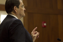 Defense Attorney Clifford Dunn addressing the judge. Photo by Adam Metcalf  |  SUN News