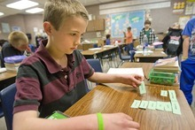 Paul Fraughton  |  The Salt Lake Tribune Sam Scheffner, who is in fourth grade at Sunrise Elementary, studies his spelling words on Tuesday  April 12, 2011.