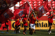 Leah Hogsten  |  The Salt Lake Tribune  Leo The Lion leads a parade of Real fans around the stadium after the game.  Real Salt Lake defeated the Chicago Fire 1-0  at Rio Tinto Stadium Saturday, September 18, 2010, in Sandy.