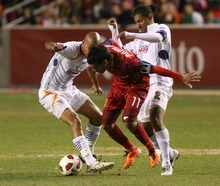 Leah Hogsten  |  The Salt Lake Tribune Real Salt Lake's  Javier Morales battles Saprissa's Douglas Sequeira (left) and Armando Alonso (right). Real Salt Lake  played the first  its two-game series against Saprissa of Costa Rica in the CONCACAF Champions League at Rio Tinto Stadium  Tuesday March 15, 2011.