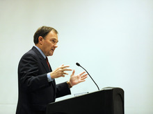 SARAH A. MILLER  |  The Salt Lake Tribune Utah Gov. Gary Herbert highlights a few of the goals of the state's 10-year Strategic Energy Plan while speaking Tuesday at the Utah Renewable Energy Conference.