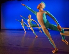 Paul Fraughton  |  The Salt Lake Tribune Ririe-Woodbury dancers perform works of Alwin Nikolais. Jo Blake (front),Juan Carlos Claudio and Kai Medeiros. Wednesday  April 13, 2011