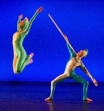 Paul Fraughton  |  The Salt Lake Tribune Ririe-Woodbury dancers perform works of Alwin Nikolais.From left: Tara Roszeen McArthur and Caine Keenan. Wednesday  April 13, 2011
