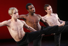 Leah Hogsten  |  The Salt Lake Tribune Caine Keenan, left, Prentice Whitlow and T. J. Spaur perform in Ririe-Woodbury Dance Company's upcoming production of