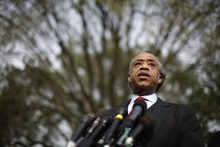 Al Sharpton of the National Action Network speaks to reporters after meeting with President Obama about immigration reform at the White House in Washington, Tuesday, April 19, 2011. (AP Photo/Charles Dharapak)