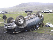 The Utah Highway Patrol said a 28-year-old Salt Lake City woman was killed Saturday when the SUV in which she was a passenger crashed on I-15 near Santaquin. Courtesy UHP