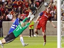 Real Salt Lake Nat Borchers misses a game-winning goal against FC Dallas in Rio Tinto Stadium. Stephen Holt / Special to the Tribune