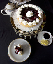 Steve Griffin  |  The Salt Lake Tribune   Blueberry white chocolate cake at the Vintage Restaurant and Tea Room in Ogden.