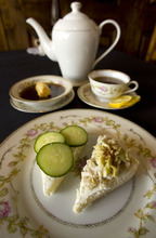 Steve Griffin  |  The Salt Lake Tribune   Consome a la Windsor soup with cucumber and chicken with artichoke tea sandwiches at the Vintage Restaurant and Tea Room in Ogden.